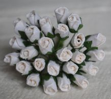 6mm WHITE ROSE BUDS (L) Mulberry Paper Flowers